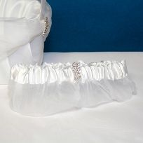 White Rhinestone Wedding Garter
